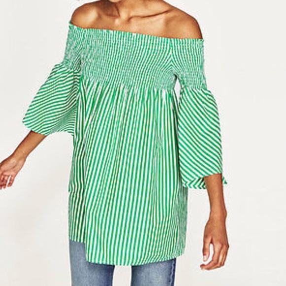 0a9926c82d77 Zara Green Striped Off Shoulder Dress. M 5af0f4dd1dffdafb65ad99f2